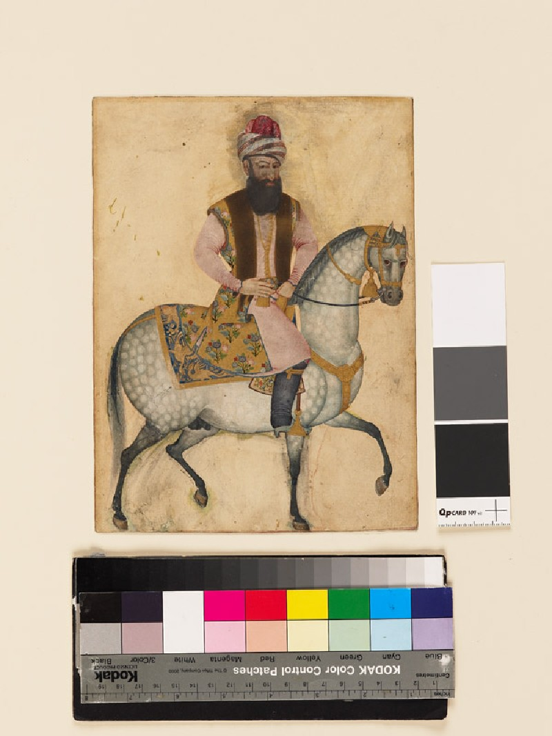 Portrait of Mu'izz al-Din Mustawfi Ghaffari on horseback