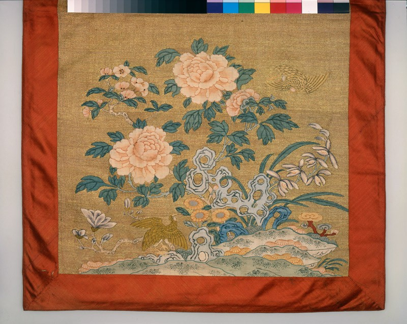 Chair cover with pomegranates, lotus, peonies, and birds (EA1965.105, detail            )