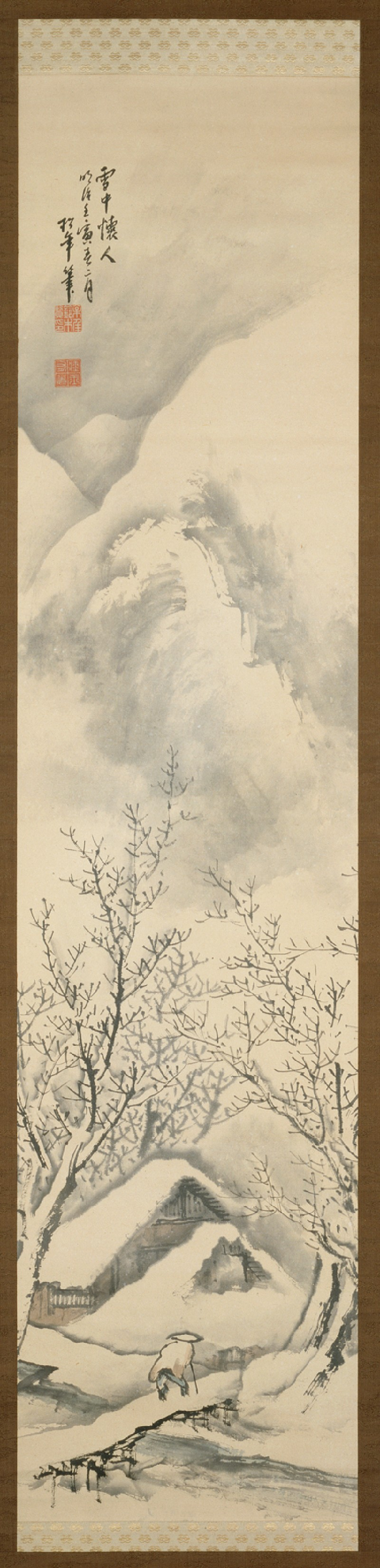 Snowscape depicting a man walking towards a hermitage