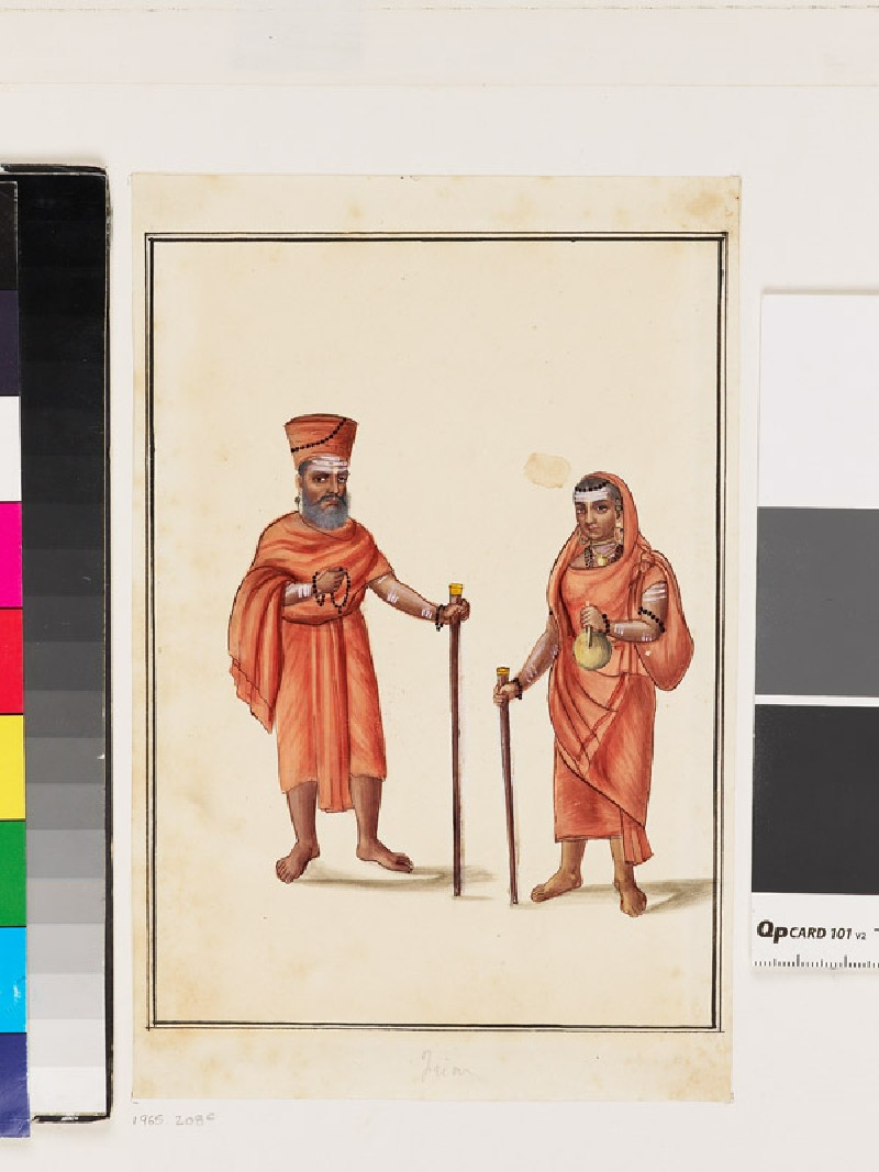 Male and female pilgrims dressed in red robes