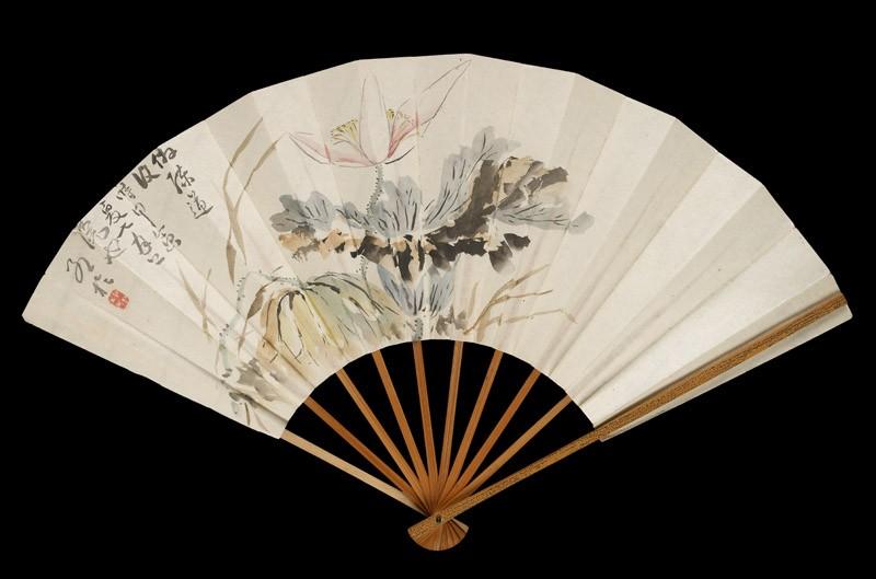 Fan with lotus flower