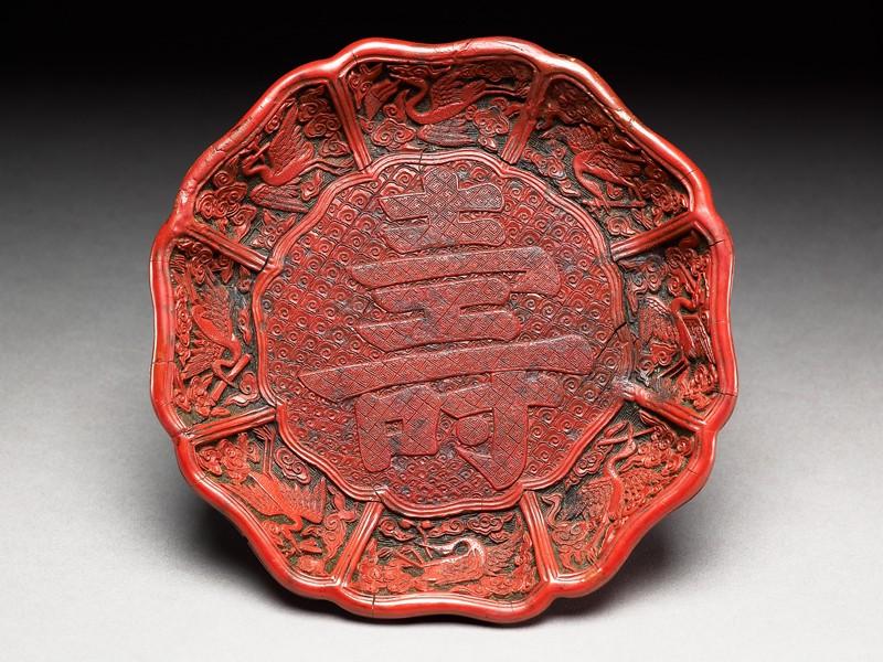 Dish with auspicious symbols