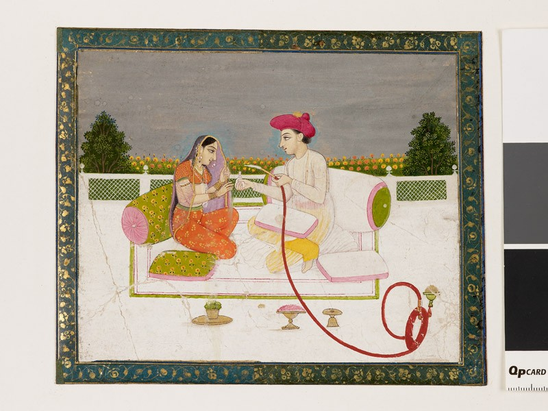 Man and woman with hookah