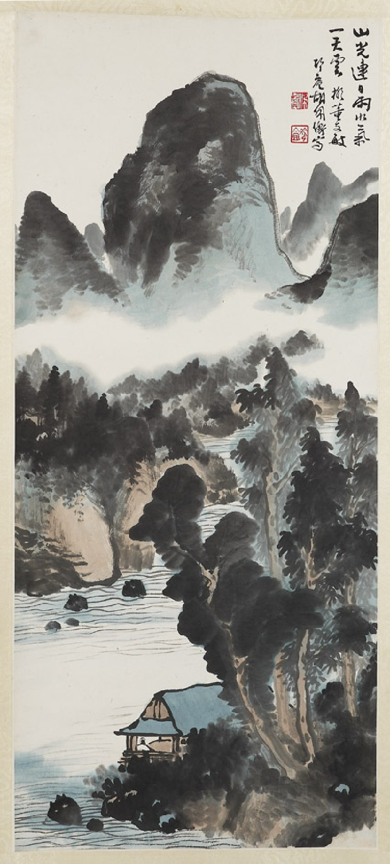 Landscape with river and mountains (EA1966.195, front, painting only            )