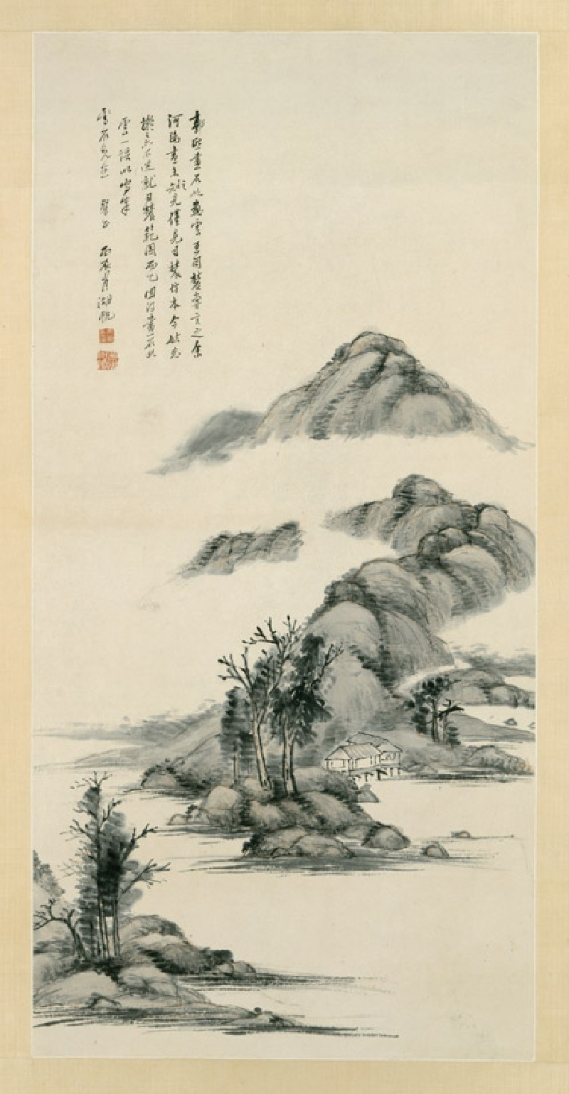 River and mountain landscape (front            )