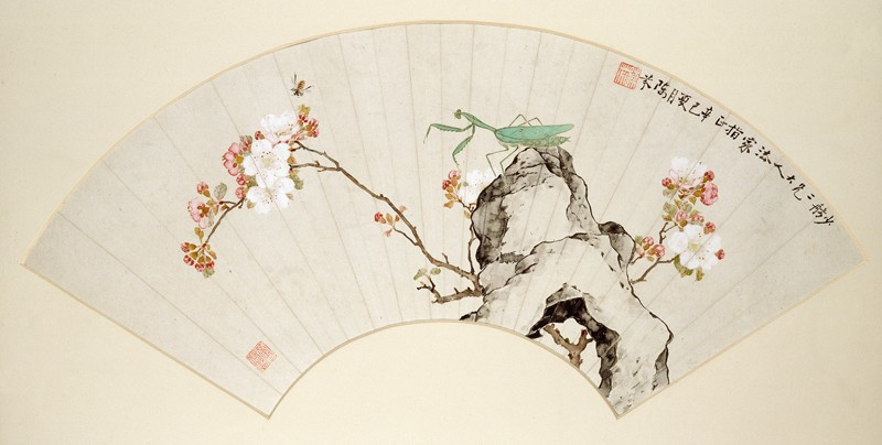 Praying mantis, bee, and prunus blossom (front            )