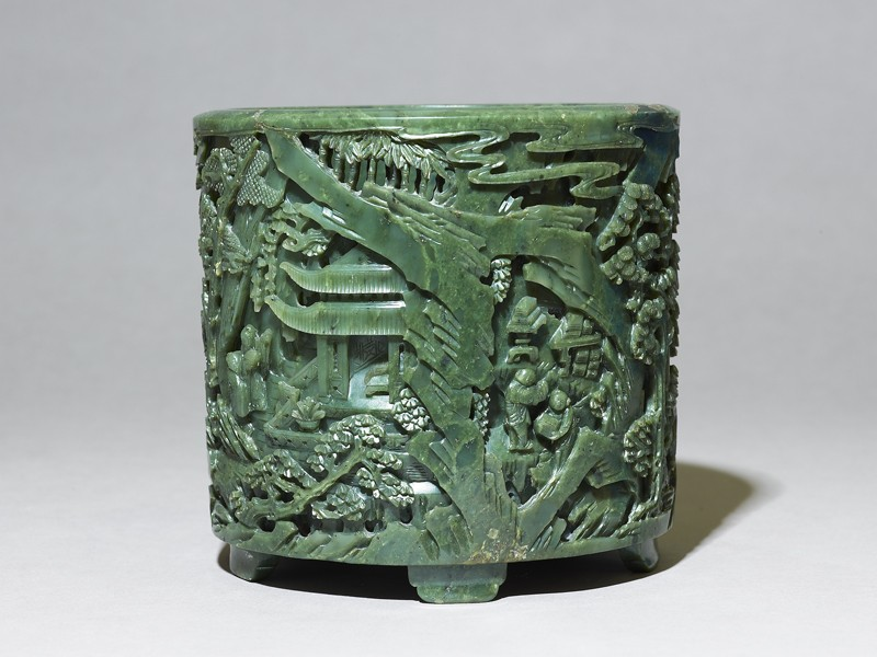 Brush pot with figures in a landscape