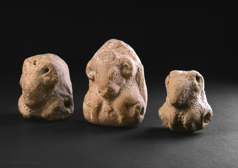 Figure of a ram or bull with sockets on the side, perhaps a toy (EA1967.60)