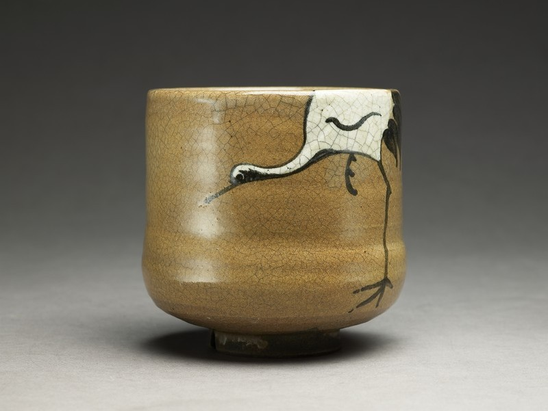 Tea bowl of Karatsu style with a crane