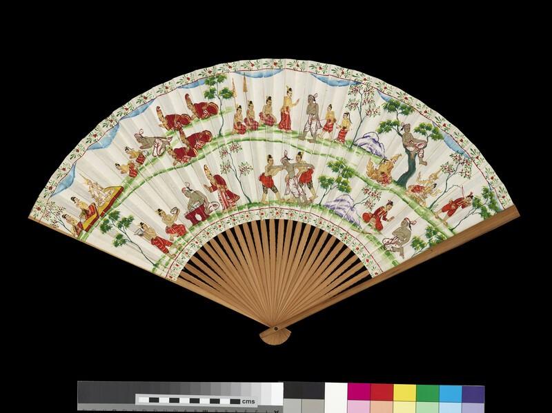 Fan with landscape in Nanga style, with scenes from the Vessantara Jataka in Burmese style (EA1970.141.v)
