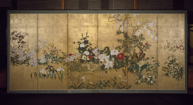 Screen with spring and summer flowers (EA1970.174, front            )