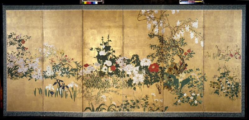 Screen with spring and summer flowers (EA1970.174)