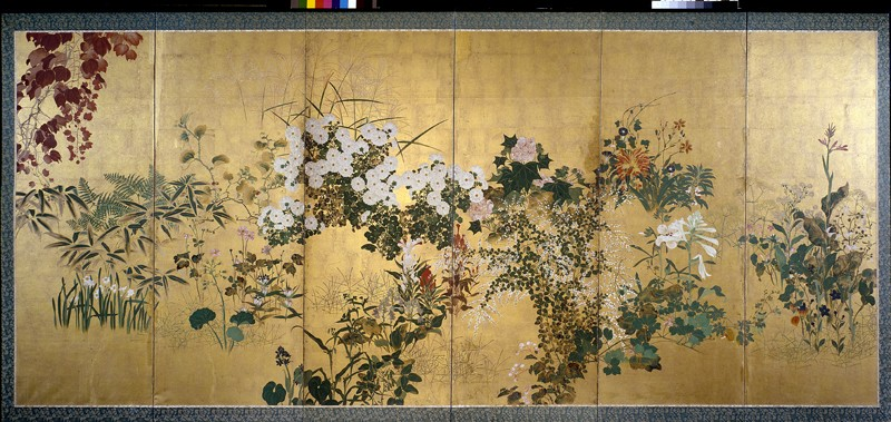 Screen with autumn and winter flowers (EA1970.175, front            )