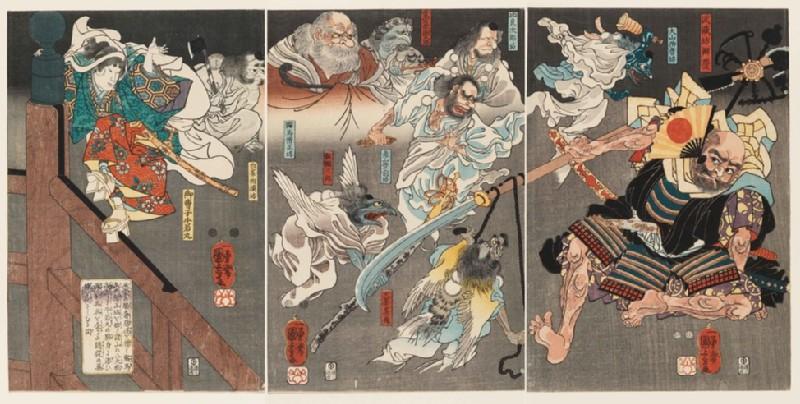 Minamoto Yoshitsune fights Benkei on Gojō Bridge, with the help of tengu demons (EA1971.160)