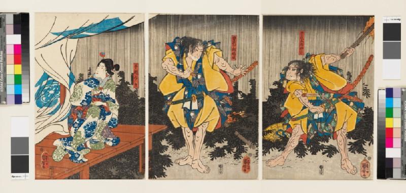 The Soga brothers and Tegoshi no Shōshō outside the tent of Kudo Suketsune (EA1971.165, front            )