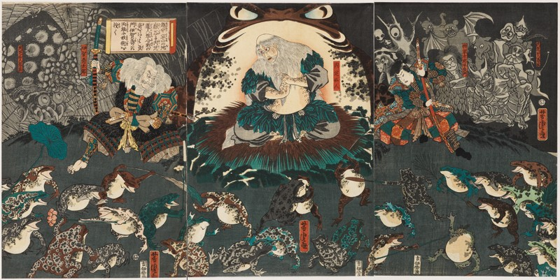 Nikushi the Frog Spirit Conjures up a Magical Battle of Frogs at Tateyama in Etchū Province (EA1971.226, front            )
