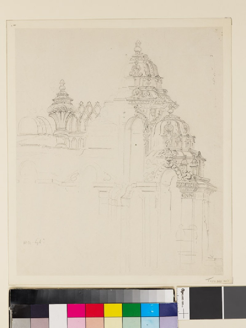 Drawing of part of a temple (front               )