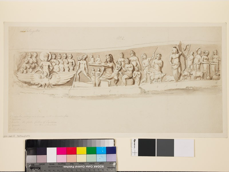 Drawing of lintel with figures in relief (EA1971.265.3, front              )