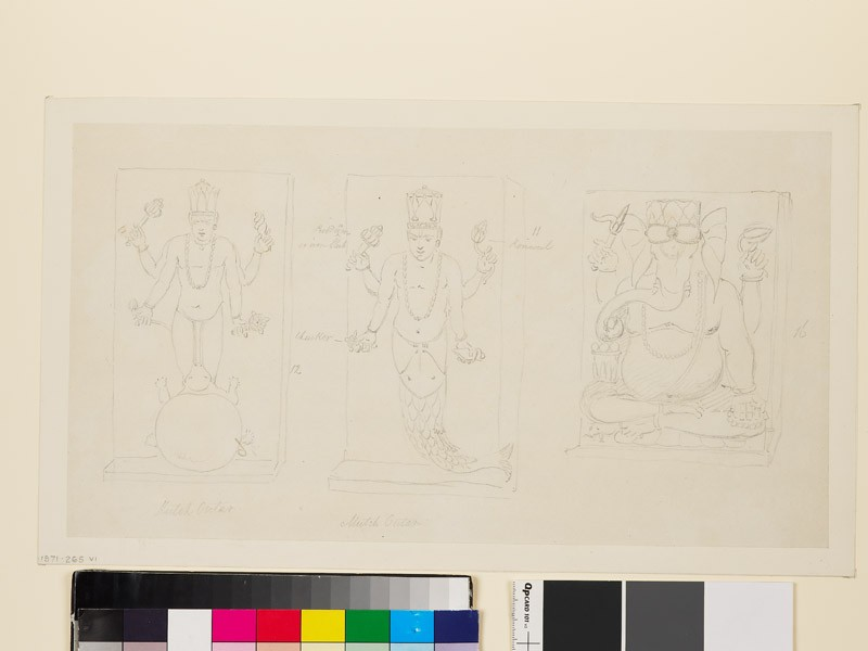 Drawing of three reliefs depicting the deities Matsya, Kurma, and Ganesha (front              )