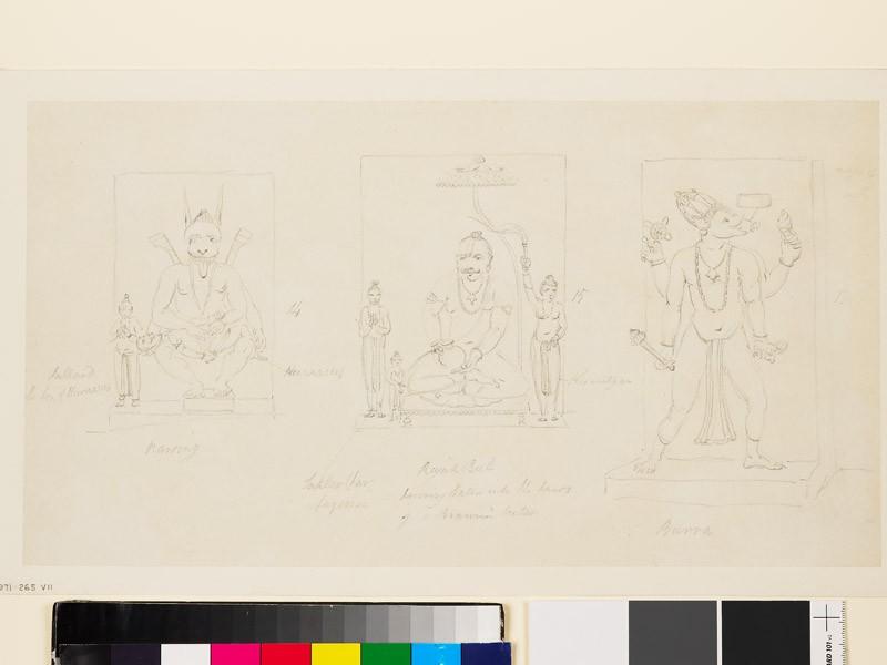 Drawing of three reliefs of deities (EA1971.265.7, front              )