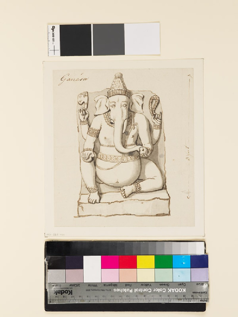 Drawing of reliefs of seated Ganesha (front              )