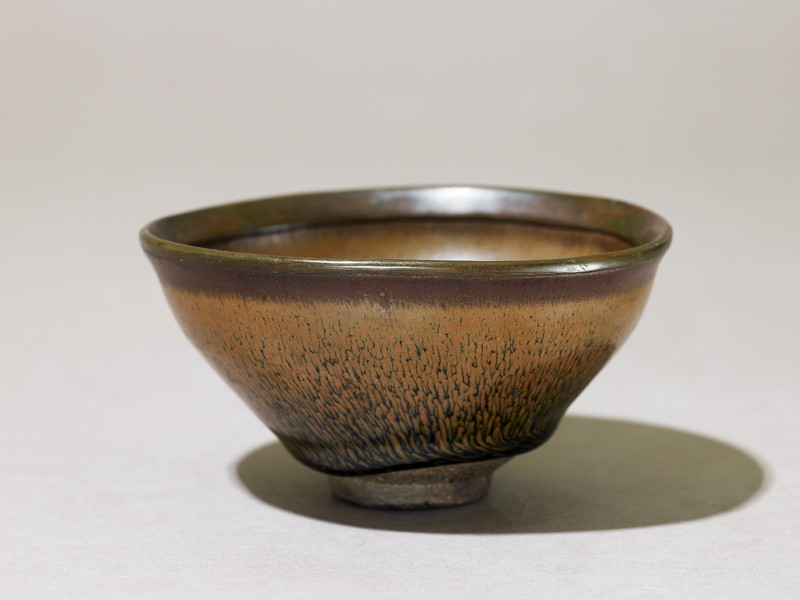 Black ware tea bowl with 'hare's fur' glaze (EA1972.16, oblique           )