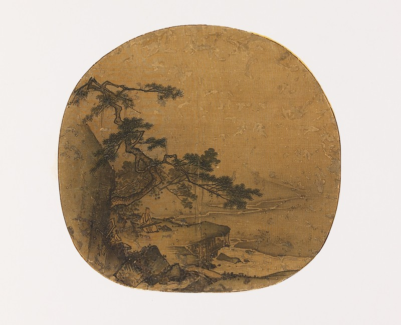 Man playing a qin beneath a pine tree (EA1972.24, front           )