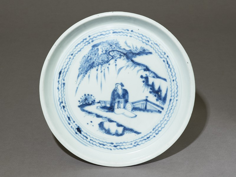 Blue-and-white dish with a figure in a landscape (EA1973.5, top          )