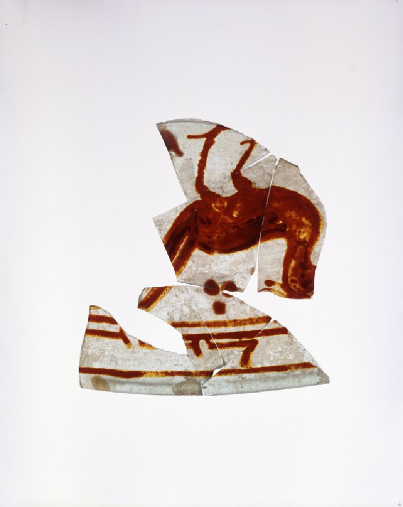 Vessel fragment with bird and calligraphy (oblique           )