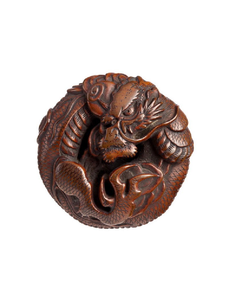 Ryūsa-style netsuke in the form of a coiled dragon