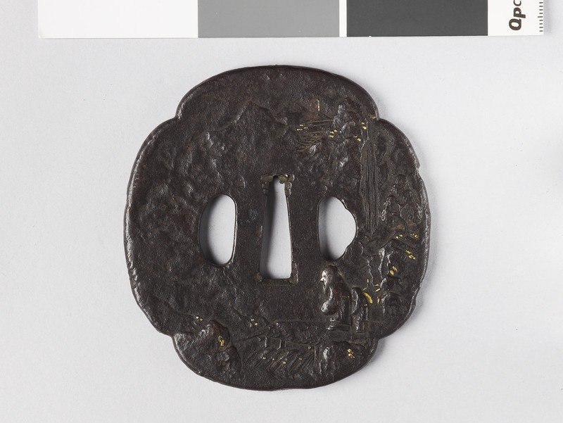 Mokkō-shaped tsuba with two Chinese sages crossing a bridge (EA1976.65, front           )