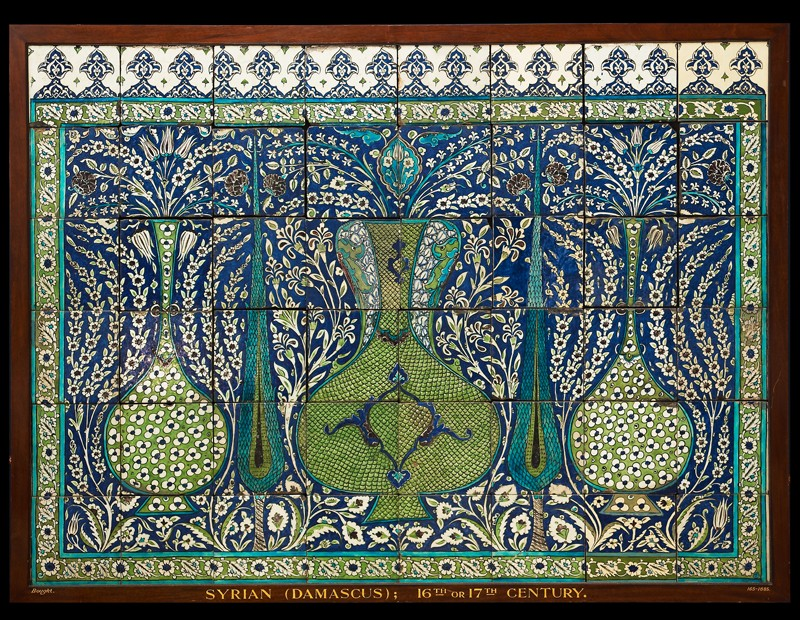 Set of forty-eight tiles displaying vases and cypress trees amid flowers (EA1977.15, front           )
