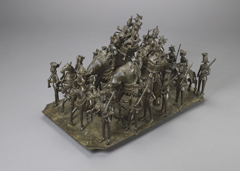 Bronze model depicting the cavalcade of the King of Awadh
