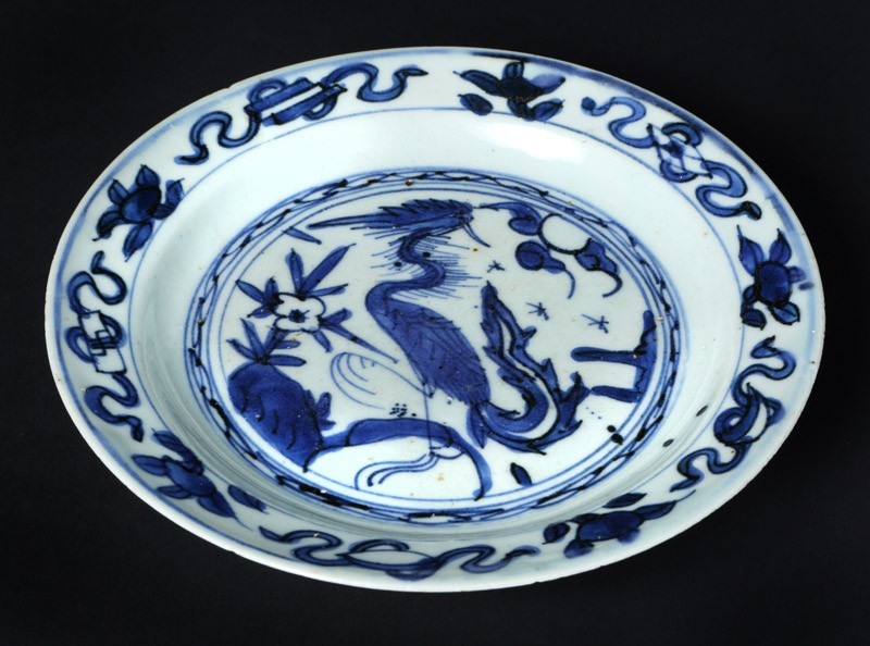 Blue-and-white plate with a phoenix (EA1978.170, front            )