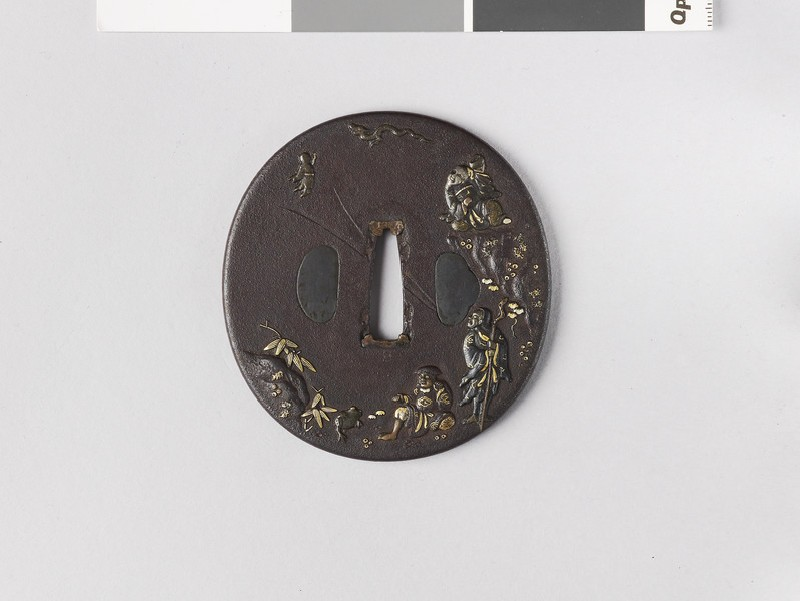 Round tsuba with design of three sennin immortals (EA1978.207, front            )