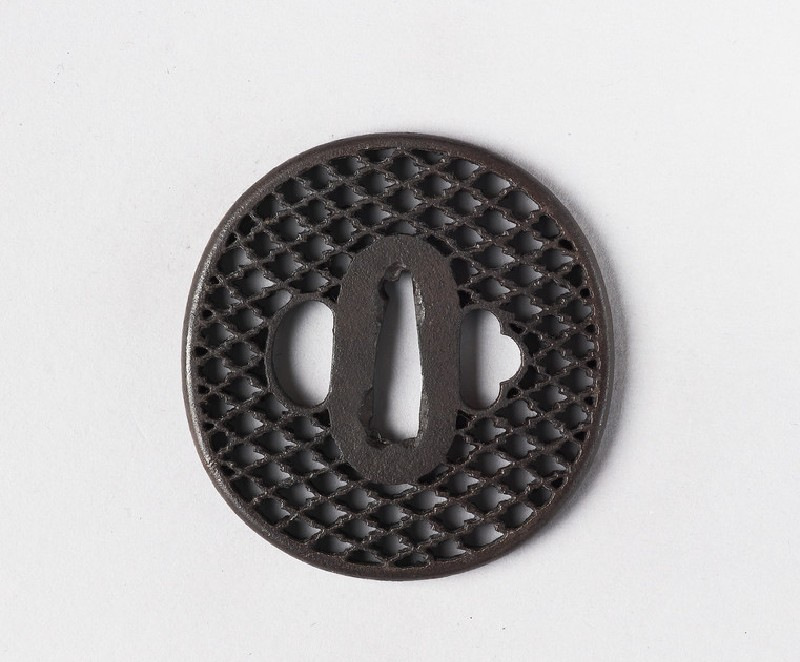 Round tsuba with ajiro (netting pattern) design