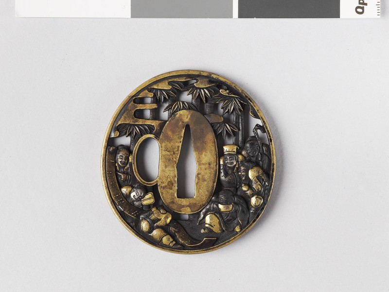 Round tsuba with design of Seven Sages of the Bamboo Grove (EA1978.219, front            )