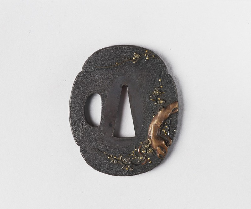 Mokkō-shaped tsuba with design of prunus tree