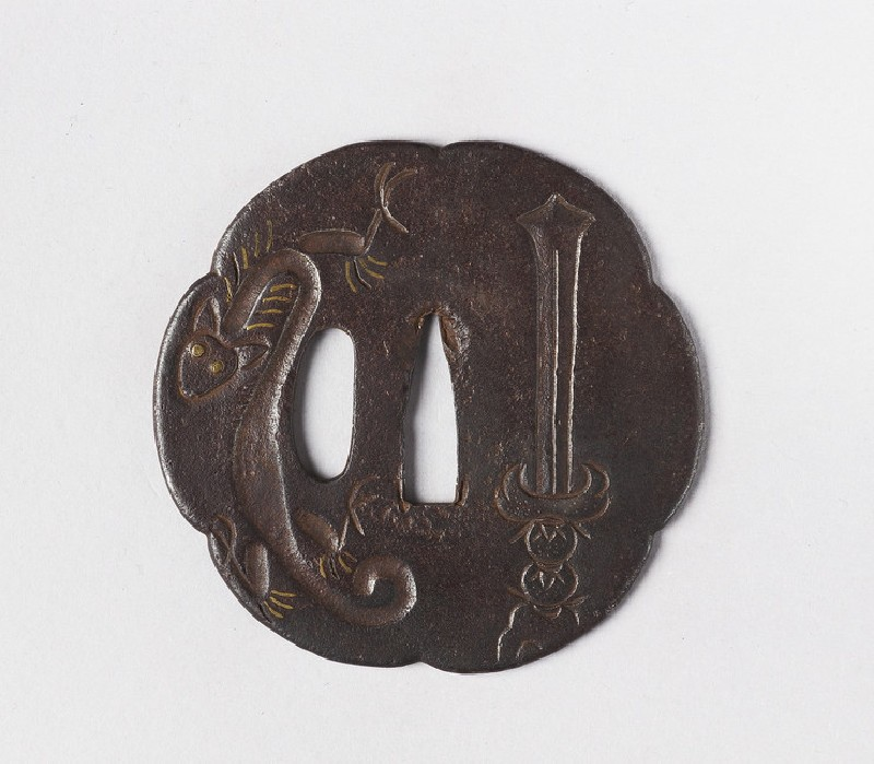 Lobed tsuba with design of dragon and ken