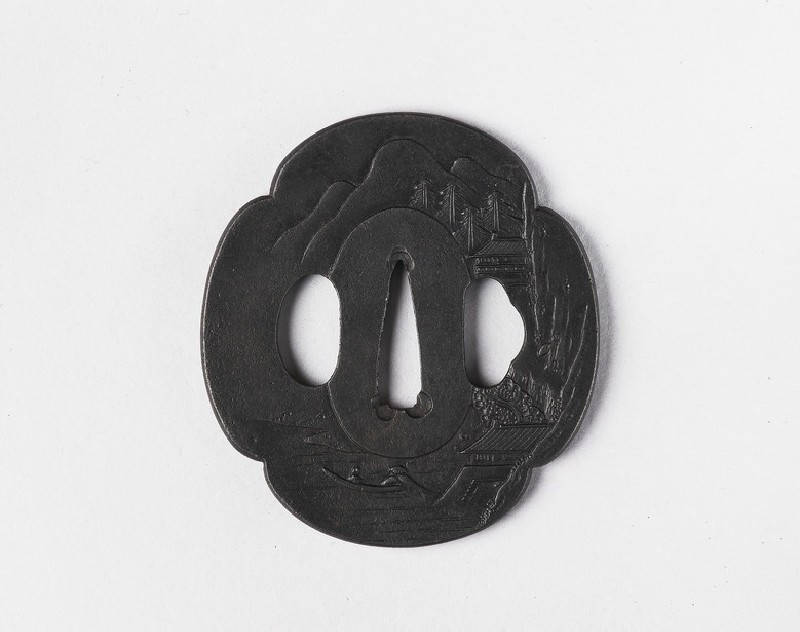 Mokkō-shaped tsuba with design of a Chinese landscape