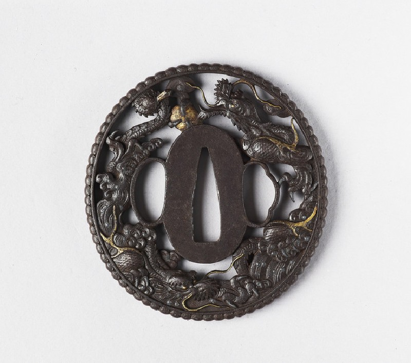 Round tsuba with design of clouds and dragons (EA1978.297, front            )