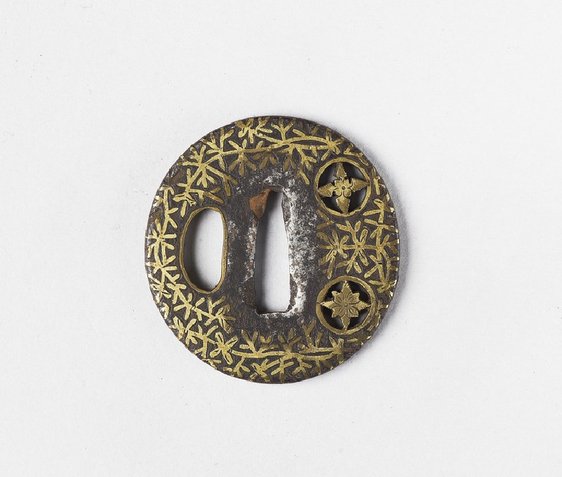 Round tsuba with design of bamboo and two mon