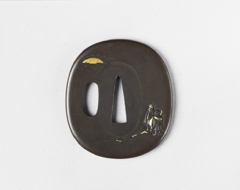 Round tsuba with design of two figures by the sea, sunset in background (EA1978.325, front            )