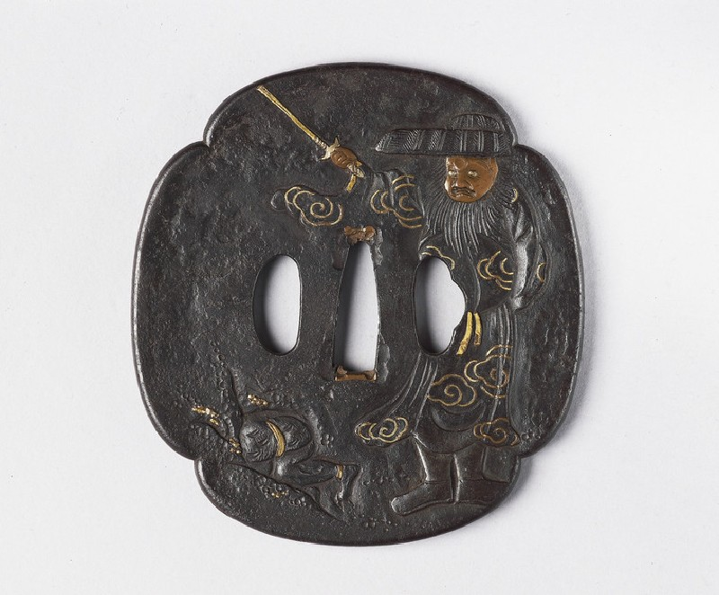 Mokkō-shaoed tsuba with design of Shoki chasing an oni