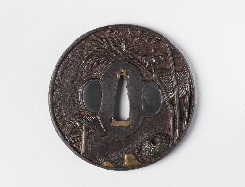 Round tsuba with design of bamboo and a teahouse (EA1978.336, front            )