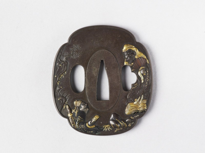 Mokkō-shaped tsuba with design of a sage and his attendant by a river