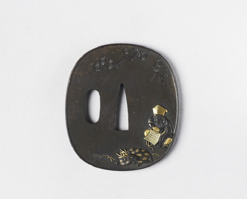 Round tsuba with design of Jurojin and his deer