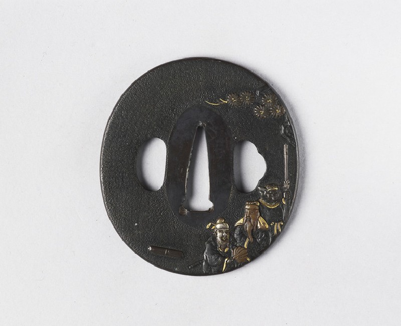 Round tsuba with design of Chinese nobles and their attendant