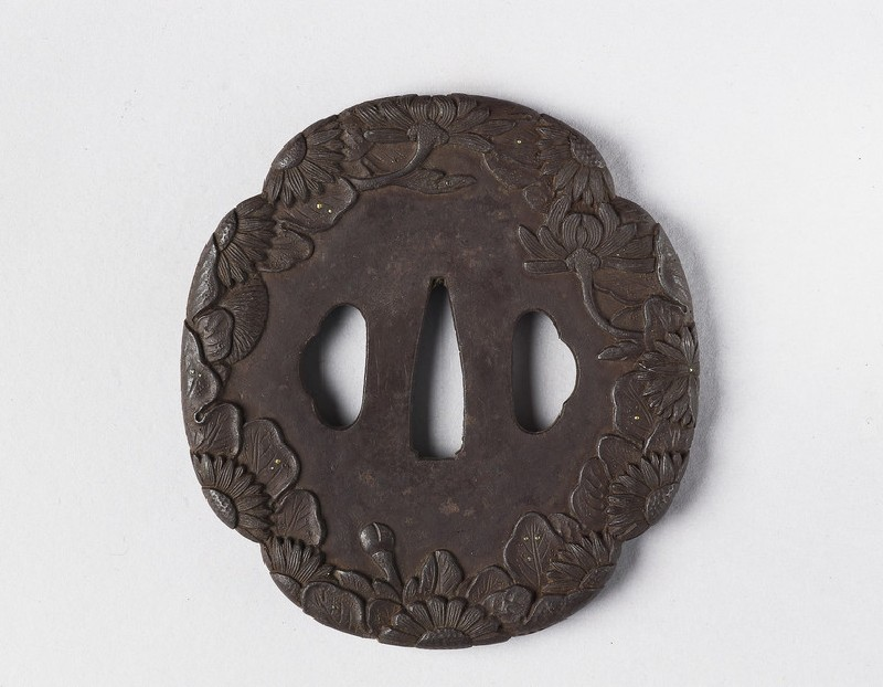 Mokkō-shaped tsuba with design of chrysanthemums (EA1978.344, front            )