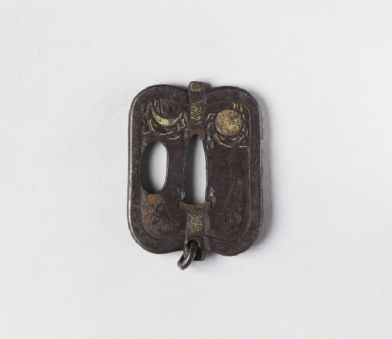 Fan-shaped tsuba with design of the sun and moon, and chinese characters (EA1978.348, front            )